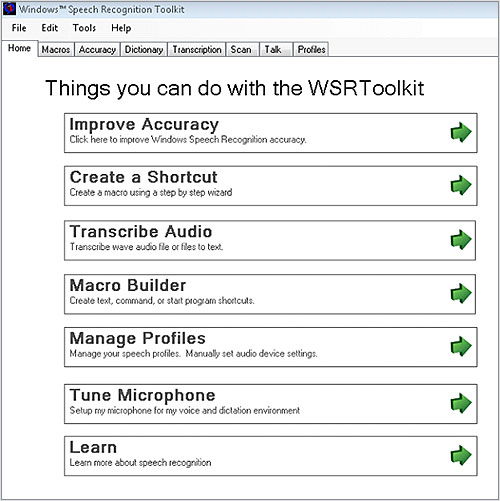 WSRToolkit v.3 for Windows Speech Recognition